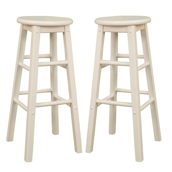 Classic White Set Of 2 Bar Stools By American Heritage