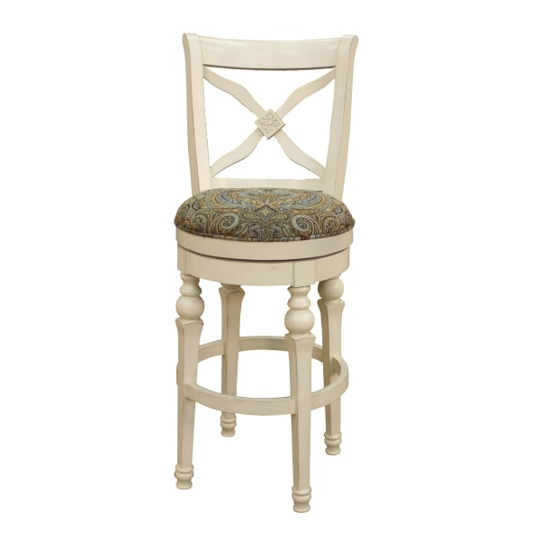 Livingston Collection Antique White Bar Stool With Blue