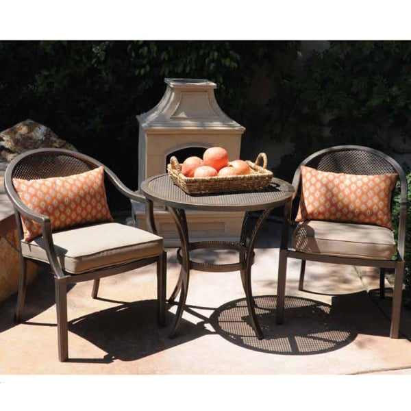 An Outside Furniture Set Featuring French-Inspired Chairs & Bistro Table - Lautrec Bistro Set By Leisure Select
