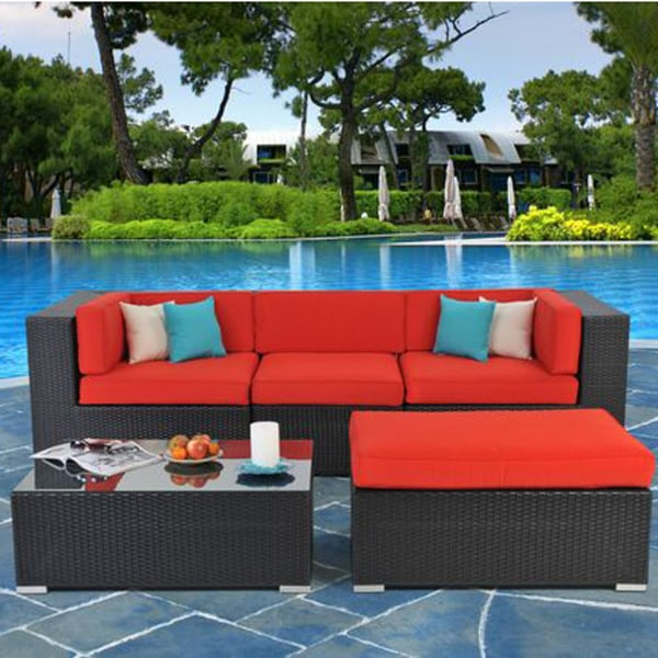 Beautiful Black Wicker Sectional Accented By Logo Red Sunbrella Cushion  Fabric