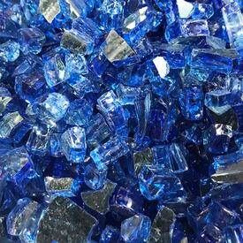"1/4"" Diamond Pacific Blue Reflective Fire Glass by Leisure Select"