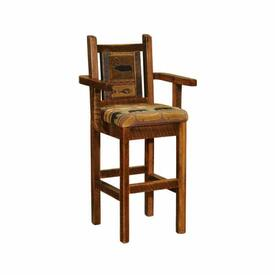 Barnwood Upholstered Bar Stool by Fireside Lodge Furniture