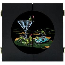 19th Hole Dart Board & Cabinet - Black by Michael Godard