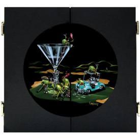 19th Hole Dart Board & Cabinet - Black by Michael Godard