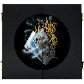 Burning Blackjack Dart Board & Cabinet - Black by Michael Godard