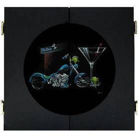 Custom Martini Dart Board & Cabinet - Black by Michael Godard