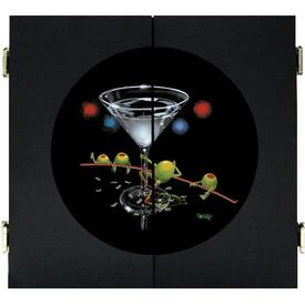 Dirty Martini Dart Board & Cabinet - Black by Michael Godard