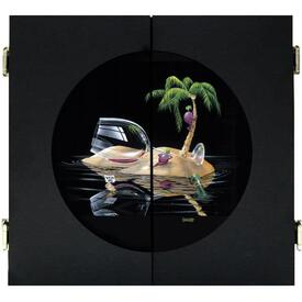 Lost in Paradise Dart Board & Cabinet - Black by Michael Godard