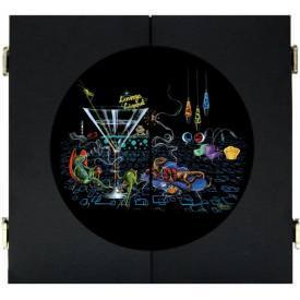 Lounge Lizard Dart Board & Cabinet - Black by Michael Godard