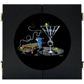 Pool Shark II Dart Board & Cabinet - Black by Michael Godard