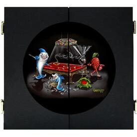 Pool Shark III Dart Board & Cabinet - Black by Michael Godard