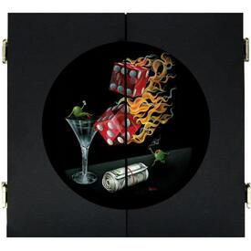 Shooting the Wad Dart Board & Cabinet - Black by Michael Godard