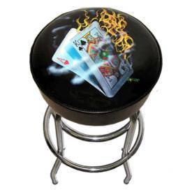 Burning Blackjack Bar Stool by Michael Godard
