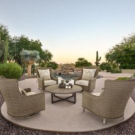 Low Cushioned Seats & Fire Pit
