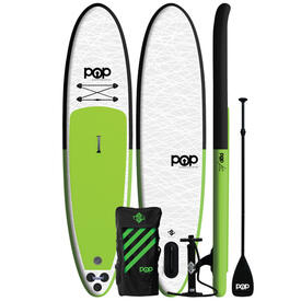11' Green Pop Up Inflatable Stand-Up Paddleboard Kit by POP
