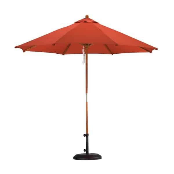 9' Wood Pulley Market Umbrella by Leisure Select