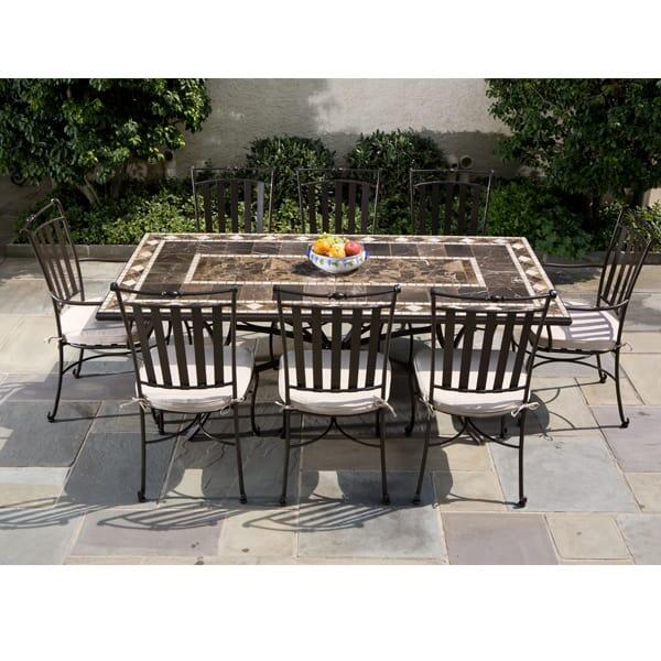 Fine Outdoor Dining With This Upscale Marble Patio Table and Eight Chairs from Alfresco Home Outdoor Furniture