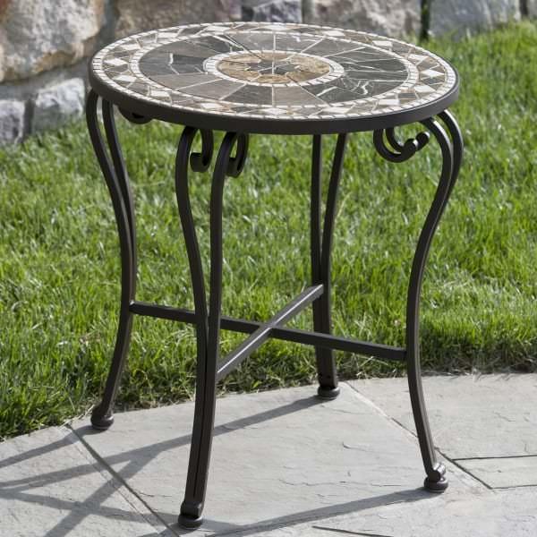 galileo marble mosaic side table. Black Bedroom Furniture Sets. Home Design Ideas