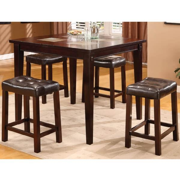 Counter Height Dining Table And 5 Backless Stools