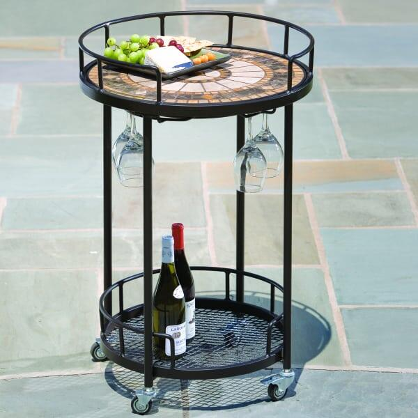 Compass Marble Mosaic Serving Cart by Alfresco Home