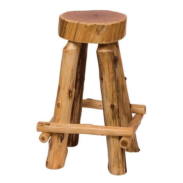 Cedar Slab Bar Stool - Outer Rest by Fireside Lodge Furniture