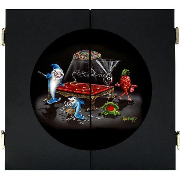 Pool Shark III Dart Board & Cabinet - Black by Michael Godard