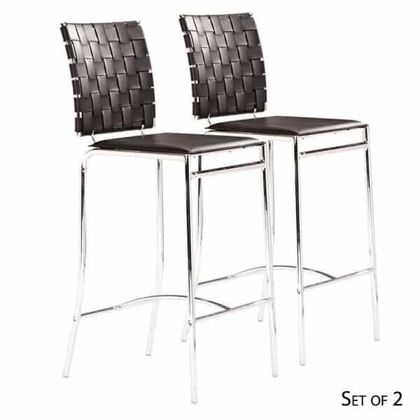 Criss Cross Bar Chairs Espresso Pair By Zuo Modern