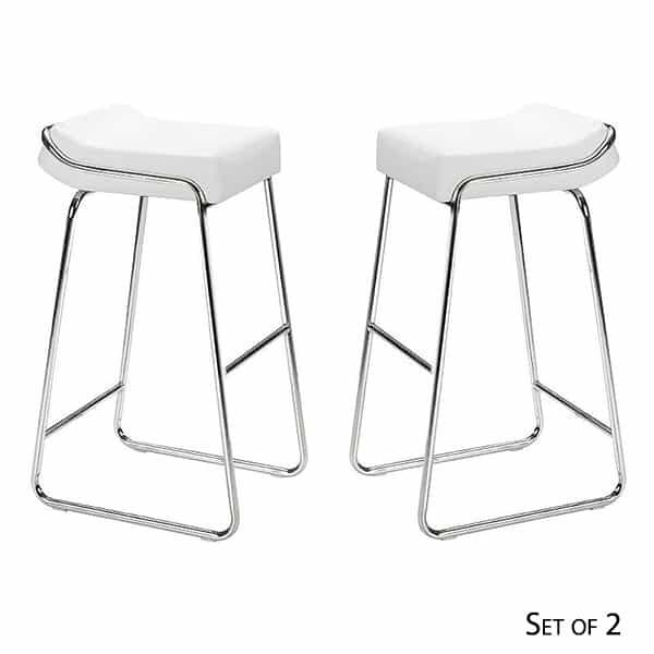 Wedge Bar Stools - White by Zuo Modern