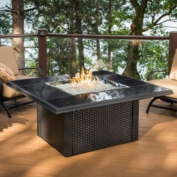Napa Valley Fire Pit Table - Square Wicker by Outdoor GreatRoom