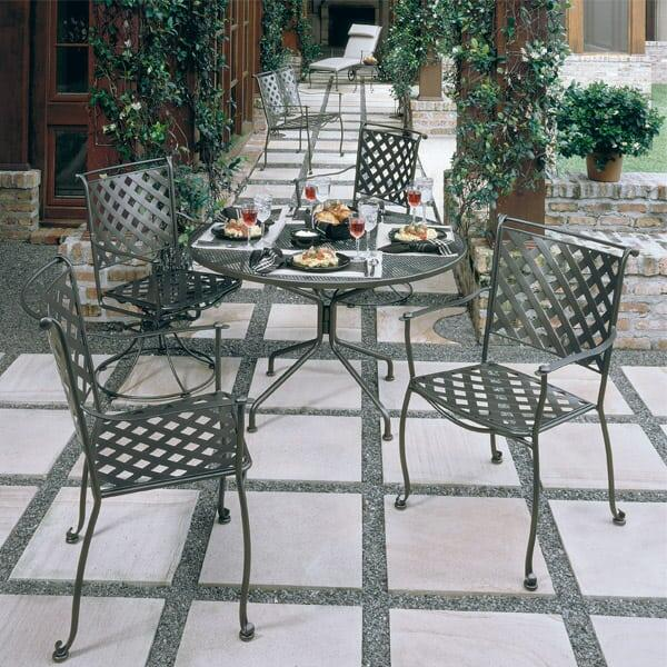 Maddox Dining by Woodard - Wrought Iron Patio Furniture Patio Furniture Family Leisure