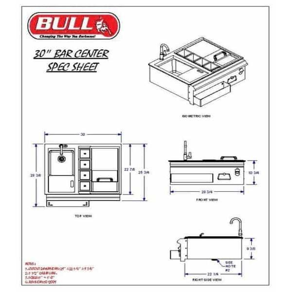 "30"" Bar Caddy w/Sink by Bull Grills"
