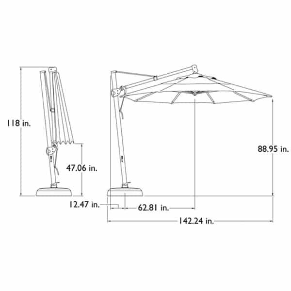 11 Ft. Cantilevered Umbrella II by Treasure Garden