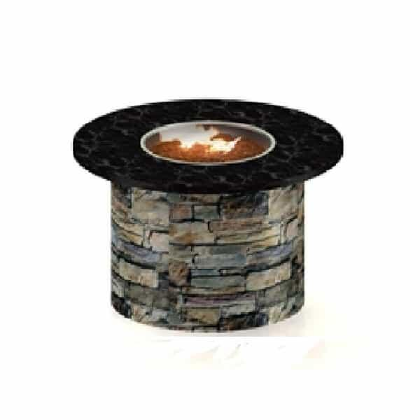"60"" Granite Top / Stone Base Custom Fire Pit by Leisure Select"