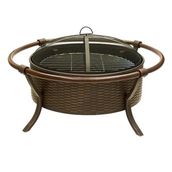 Bronze Basket Weave Wood Burning Fire Pit by Dagan Industries
