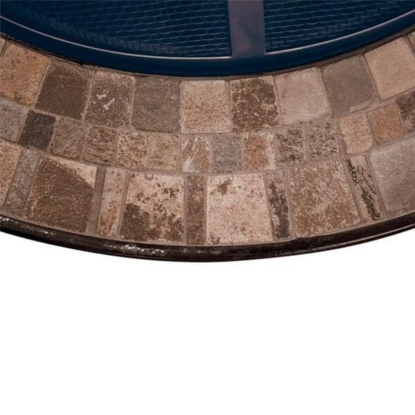 A Slate Tile Top Surrounds This Wood Burning Fire Pit for Your Outdoor Room