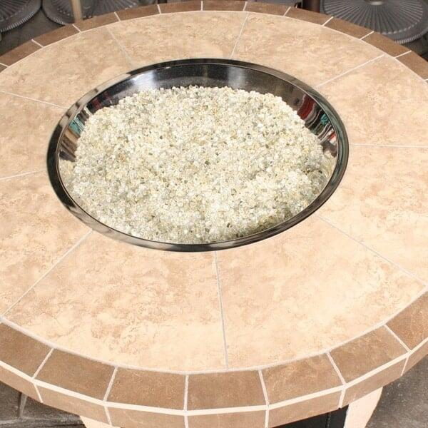 Tile Top / Stucco Base Custom Fire Pit by Leisure Select