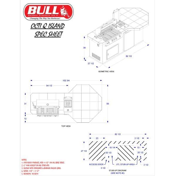 Octi-Q Grill Island - Stone by Bull Grills
