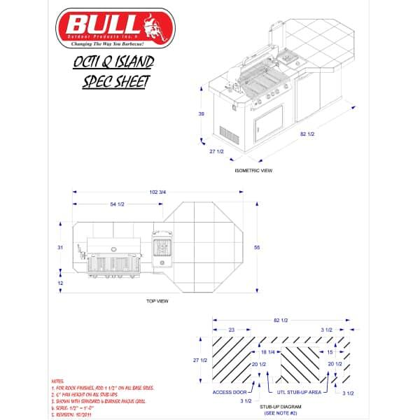 Octi-Q Grill Island - Stucco by Bull Grills
