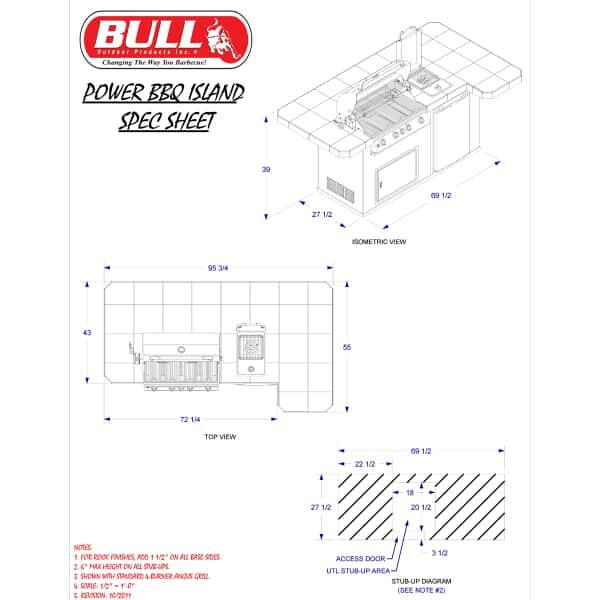 Power-BBQ Grill Island - Stucco by Bull Grills