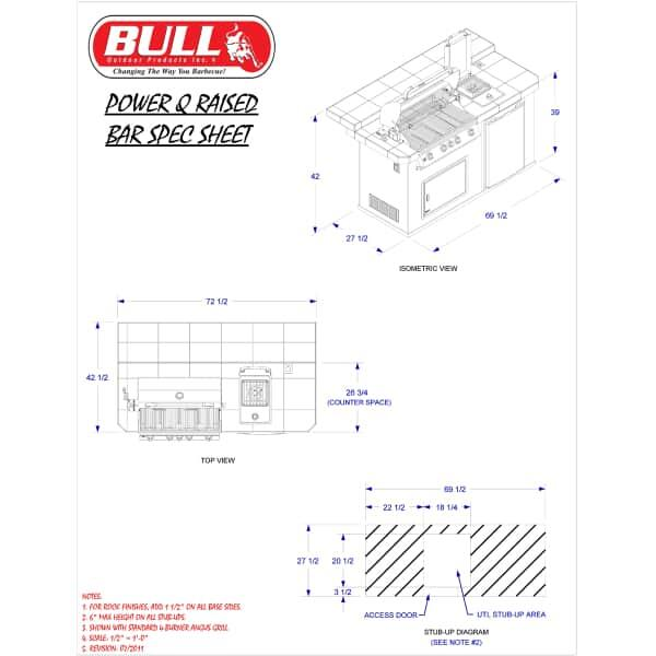 Power-Q Raised Back Grill Island - Stucco by Bull Grills