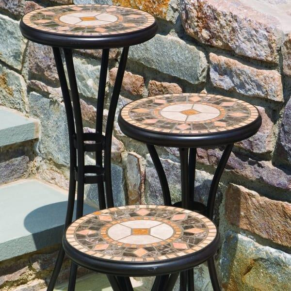 The Compass 12 Quot Round Set Of Three Plant Stands By