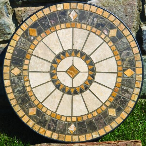 Compass Marble Mosaic Side Table by Alfresco Home