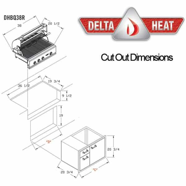 "38"" Outdoor Gas Grill Head by Delta Heat"