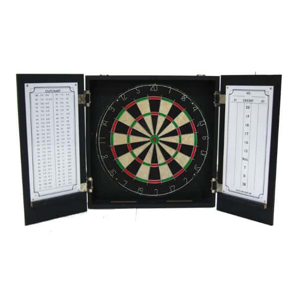 Sitting on Seven Dart Board & Cabinet - Black by Michael Godard