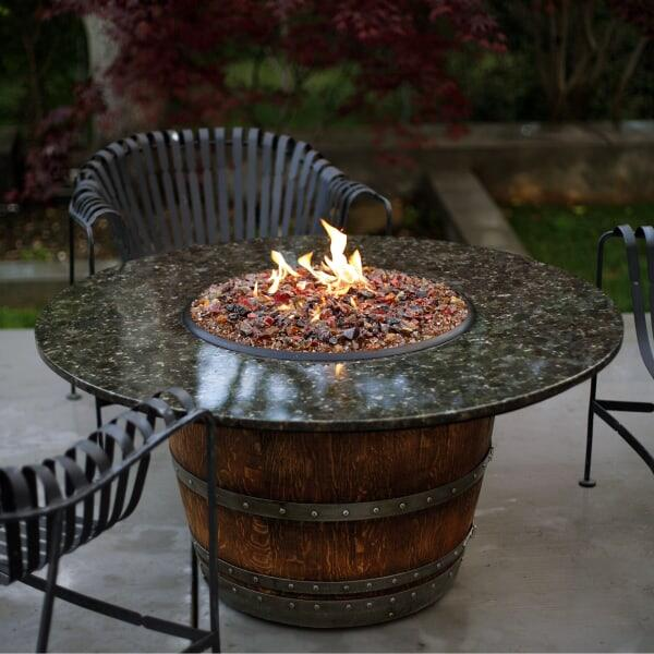 Reserve Wine Barrel Fire Pit Table Granite