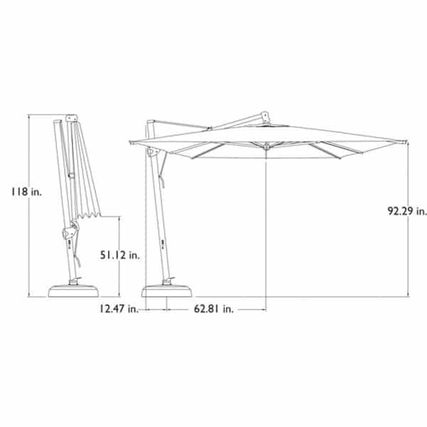 10' x 13' Cantilevered Umbrella by Treasure Garden