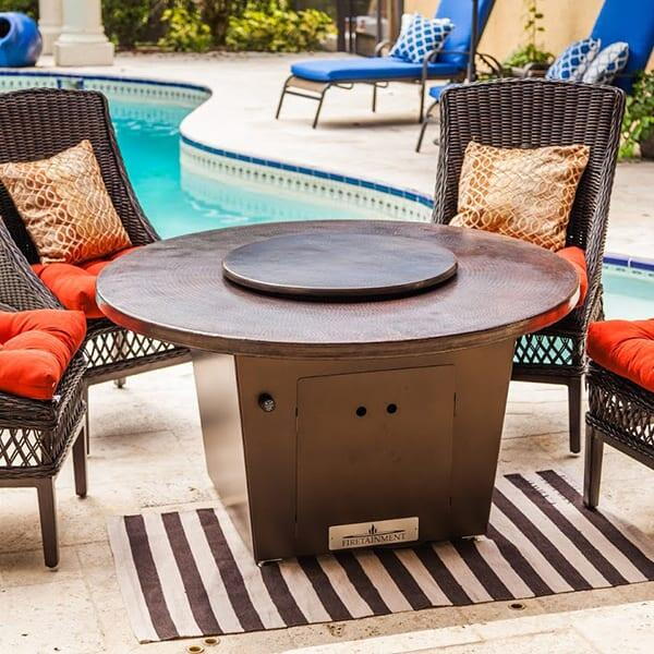 Cyprus Copper Fire Pit Table by Firetainment