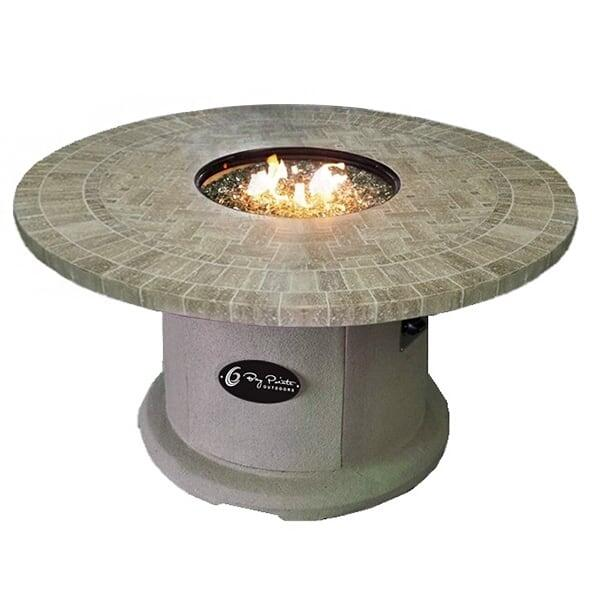 "42"" Travertine Top Fire Pit Table"