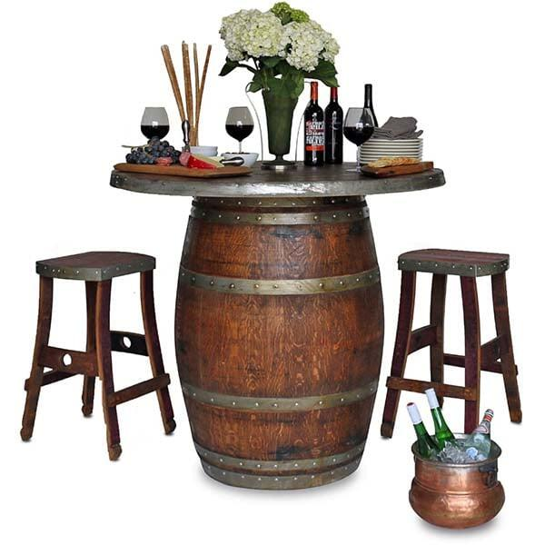 Grand Wine Barrel Fire Pit Table - Bar Height by Vin de Flame
