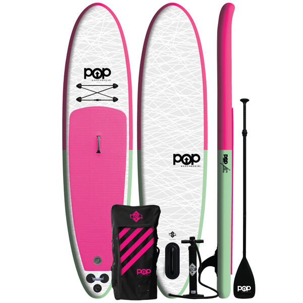 11' Pink Pop Up Inflatable Stand-Up Paddleboard Kit by POP
